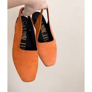 orange suede slingbacks